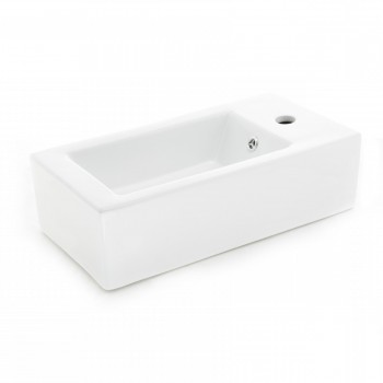 Small Wall Mount Bathroom Sink Rectangle with Overflow RightSide Hole