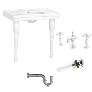Console Sink White Porcelain with Hardwood Leg, Faucet, Drain & P Trap52093grid