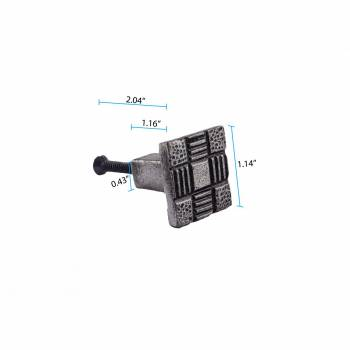 spec-<PRE>Iron Cabinet Drawer Pulls Square Aztec Pewter Finish Pack Of 10</PRE>