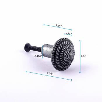 spec-<PRE>Round Cabinet Knob &quot;Fibonacci Design&quot; Iron Pewter Finish Pack of 10</PRE>