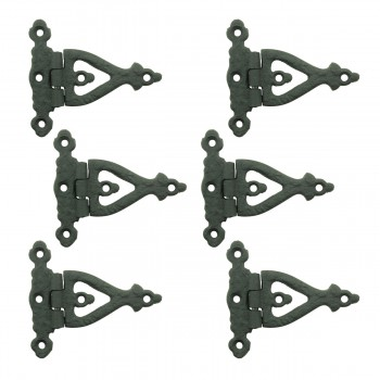 3 Inch Black Wrought Iron Door Hinge Strap RSF Finish Barn Door Hinges Pack of 6