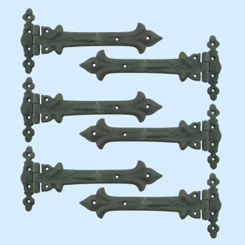 spec-<PRE>9 Inch Wrought Iron Strap Hinge Southern Charm Rust Resistant Barn, Pack of 6</PRE>