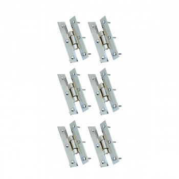 3 Chrome Flush Cabinet H Hinge Pack of 6