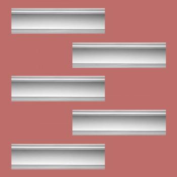 """spec-<PRE>Renovator's Supply Cornice White Urethane Golder Design 5 Pieces Totaling 475"""" Length</PRE>"""