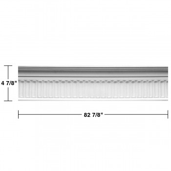 "spec-<PRE>Renovator's Supply Ornate Cornice White Urethane Sommet Design 5 Pieces Totaling 414.375"" Length</PRE>"