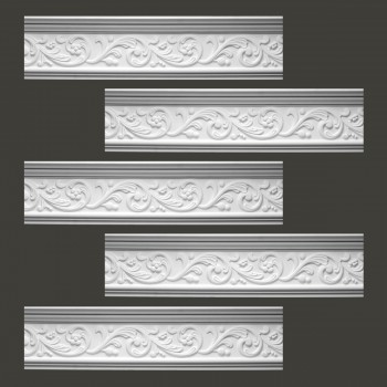 <PRE>Renovator's Supply Cornice White Urethane Somber Water Design 5 Pieces Totaling 393.125inch Length</PRE>zoom2