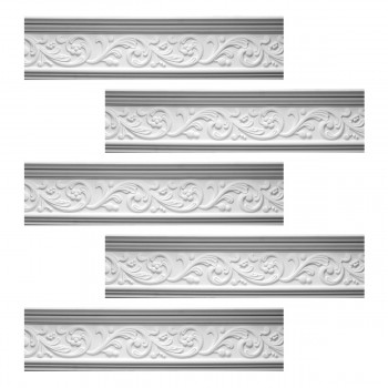 <PRE>Renovator's Supply Cornice White Urethane Somber Water Design 5 Pieces Totaling 393.125inch Length</PRE>zoom1