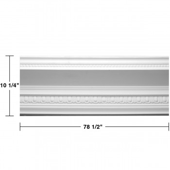 "spec-<PRE> Cornice White Urethane Ruskin Ornate Design 5 Pieces Totaling 392.5"" Length</PRE>"