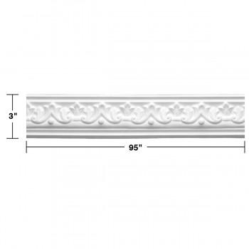 "spec-<PRE>  Ornate Cornice White Urethane Design 5 Pieces Totaling 475"" Length</PRE>"