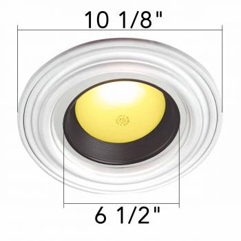 spec-<PRE>10 Spot Light Ring White Trim 6.5&quot; ID x 10&quot;OD Mini Medallion 10 Pack</PRE>