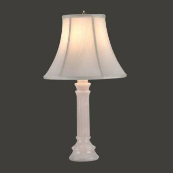 <PRE>Alabaster Table Lamp White Pillar Beige Shade 22inchH </PRE>zoom2