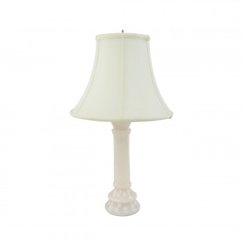 <PRE>Alabaster Table Lamp White Pillar Beige Shade 22inchH </PRE>zoom3