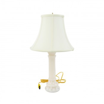 <PRE>Alabaster Table Lamp White Pillar Beige Shade 22inchH </PRE>zoom4
