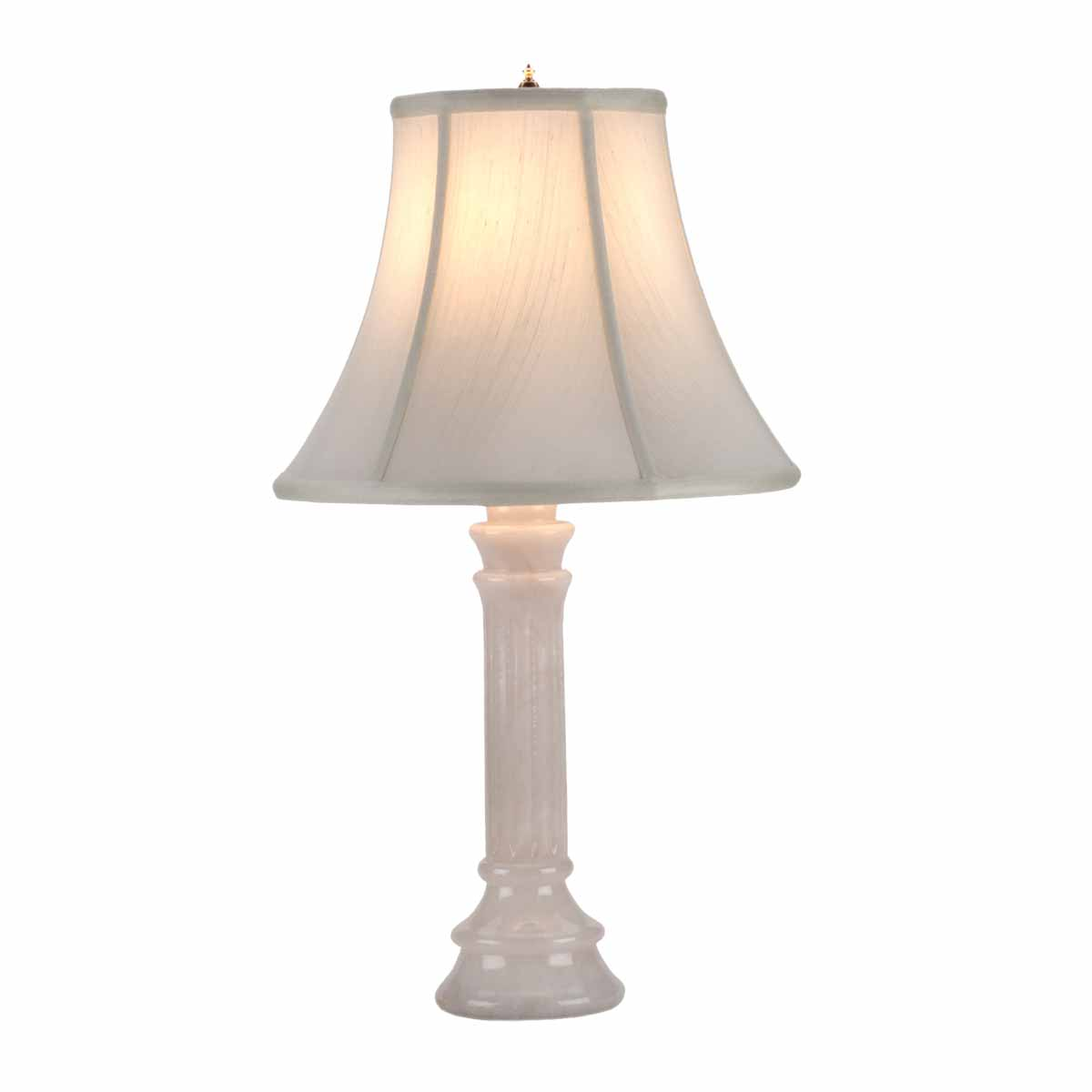 Beige shade white alabaster table lamp of 22 inch height for 6 inch table lamp