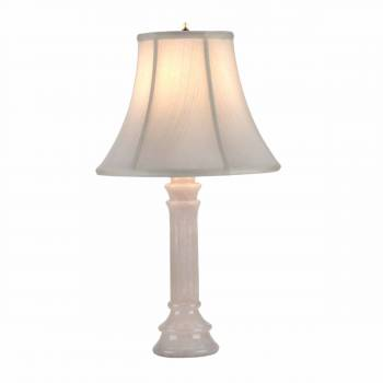 Alabaster Table Lamp White Pillar Beige Shade 22