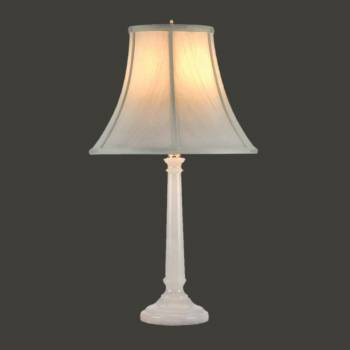 spec-<PRE>Table Lamp White Alabaster Pillar Beige Shade 22&quot;H </PRE>
