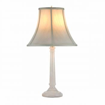 Table Lamp White Alabaster Pillar Beige Shade 22