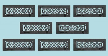 <PRE>8 Heat Air Grille Cast Victorian Overall 3 1/2 x 14 </PRE>zoom2