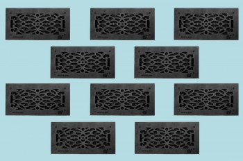 <PRE>10 Floor Heat Register Louver Vent Victorian Cast 6 x 14 Duct </PRE>