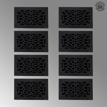 8 Floor Heat Register Louver Vent Cast 8 x 14 Duct roof floor wall air flow return metal cap heat conditioning grate baseboard exterior interior grill decor