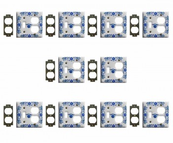 10 White Delft Porcelain Toggle/Outlet switch plate