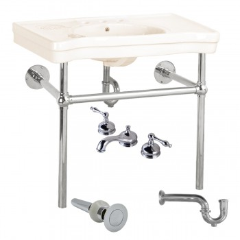 Biscuit Console Sink Deluxe with Chrome Bistro Legs, Faucet and P-Trap54331grid