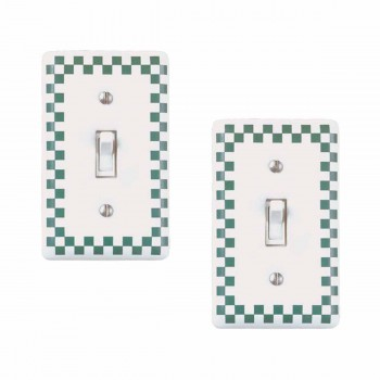<PRE>2 Porcelain Switch Plate Green Checkered Single Toggle </PRE>zoom1