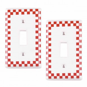 2 Switch Plate Red Porcelain Checkered Single Toggle Red Single Toggle Switch Plate Wall Plates Switch Plates