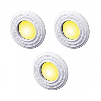 3 Spot Light Ring White Trim 4 ID x 8 OD Mini Medallion 3 Pack Light Medallion Light Medallions Lighting Medallion