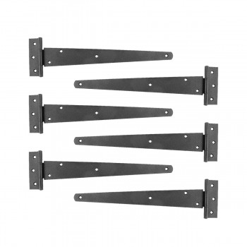 <PRE>Tee T-Strap Door Hinge Black Light Duty Stamped Malleable 13inch Length Set of 6 </PRE>