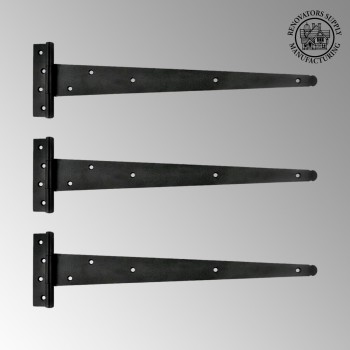 <PRE>T Strap Door Hinge RSF Black Iron Light Duty 19inch Pack of 3 </PRE>zoom2