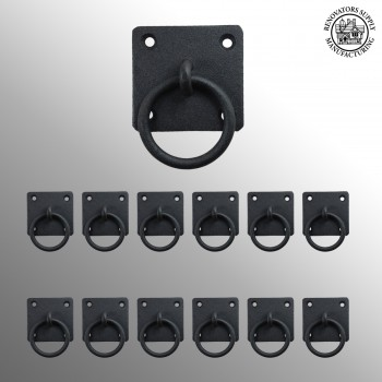 12 Black Cast Iron Ring Pull Cabinet Hardware Rustic Style