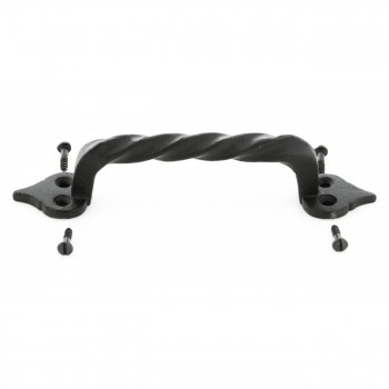 <PRE>10 Door Pulls Black Wrought Iron Twisted Handle Set of 10 </PRE>zoom4