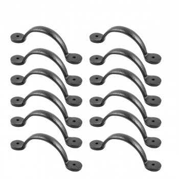 12 Door or Drawer Pull Bean Black Wrought Iron 4 78