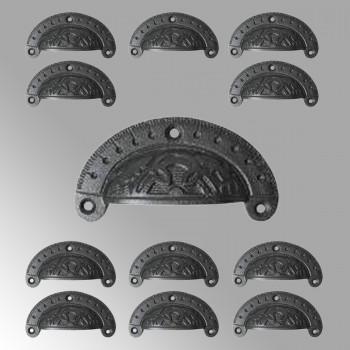 12 Cabinet Drawer Bin Pull Black Iron Cup 3 3/4 W x 1 3/4 H