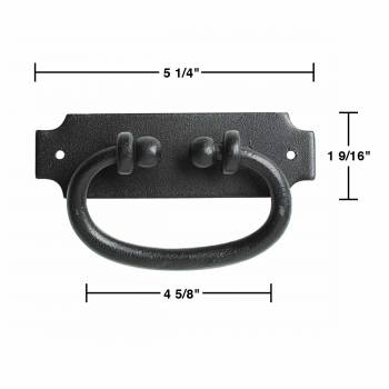 spec-<PRE>12 Cabinet or Drawer Pull Black Wrought Iron 5 1/4&quot; x 1 9/16&quot; </PRE>