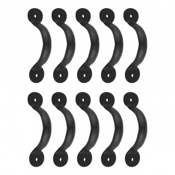 "<PRE>10 Door or Drawer Pull Black Wrought Iron Bean 3 3/4inch x 11/16"" </PRE>zoom1"