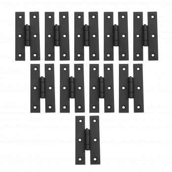 Black Wrought Iron H Hinge Flush Mount 3 in. Set of 10
