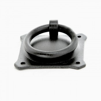 12 Black Iron Ring Pull Cabinet Hardware 2in