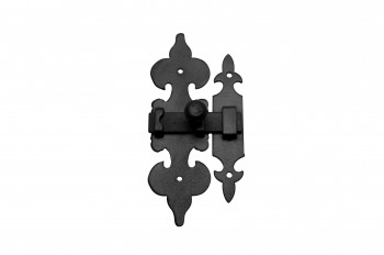 <PRE>10 Cabinet Latch Wrought Iron Black Fleur de Lis 6inch </PRE>zoom3
