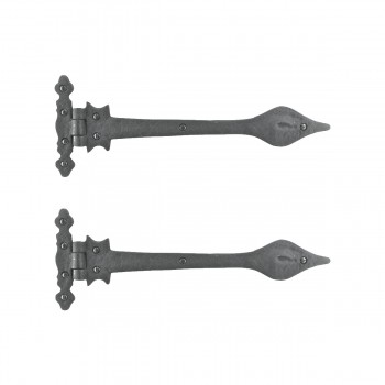 Black Wrought Iron Strap Hinge Doors or Gates Spear Tip 11-3/4in Wide Pack of 2