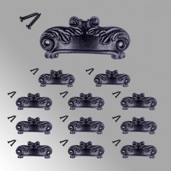 12 Cabinet Drawer Bin Pulls Black Iron Cup 4 inch W x 1 1/2 inch H