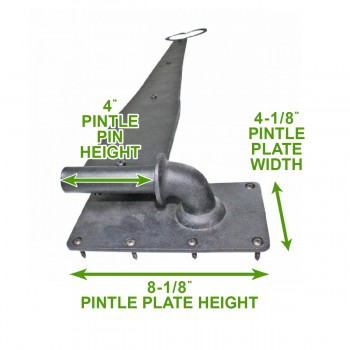 "spec-<PRE>6 Pintle Strap Door Hinge Heart Tip Black Wrought Iron 28"" </PRE>"