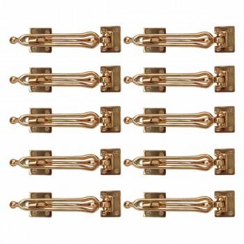 10 Bright Solid Brass Door Lock Hook