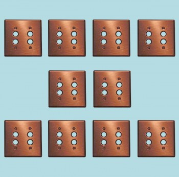 <PRE>10 Switchplate Brushed Solid Copper Double Pushbutton </PRE>zoom2
