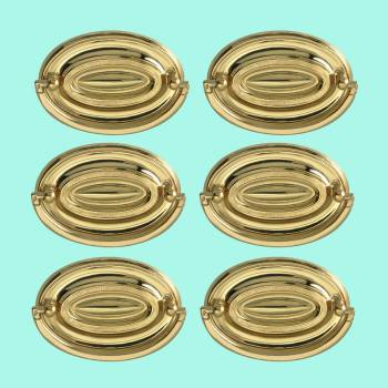 <PRE>6 Hepplewhite Drawer Pulls Polished Solid Brass 3 1/2 W  </PRE>