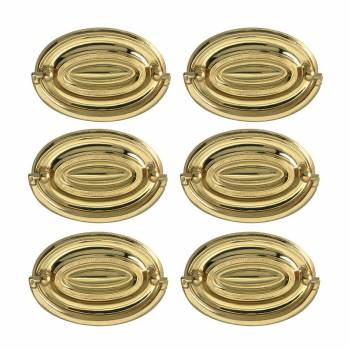 <PRE>6 Hepplewhite Drawer Pulls Polished Solid Brass 3 1/2 W  </PRE>zoom1