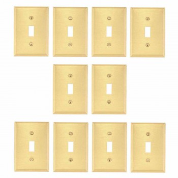 <PRE>10 Switch Plate Brushed Brass Single Toggle/Dimmer </PRE>zoom1