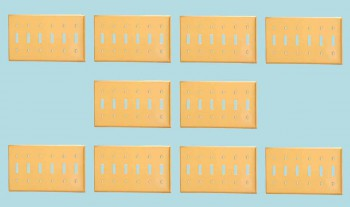 10 Switch Plate Brushed Solid Brass Six Toggle Switch Plate Wall Plates Switch Plates