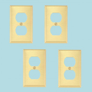 <PRE>Brushed Brass Switchplates Double Outlet Set of 4 </PRE>zoom2